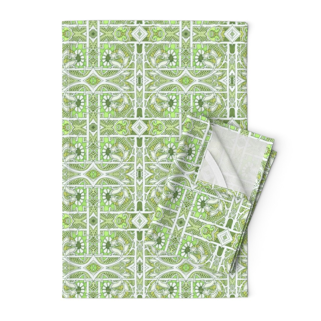 Orpington Tea Towels featuring Lacy Green Gardening by edsel2084