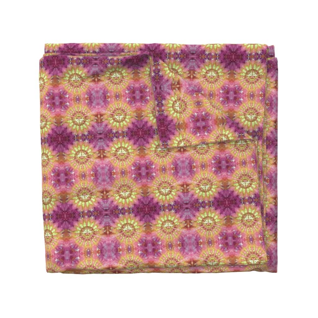 Wyandotte Duvet Cover featuring Kaleidoscope Burst Orange & Fuchsia by nancygamon