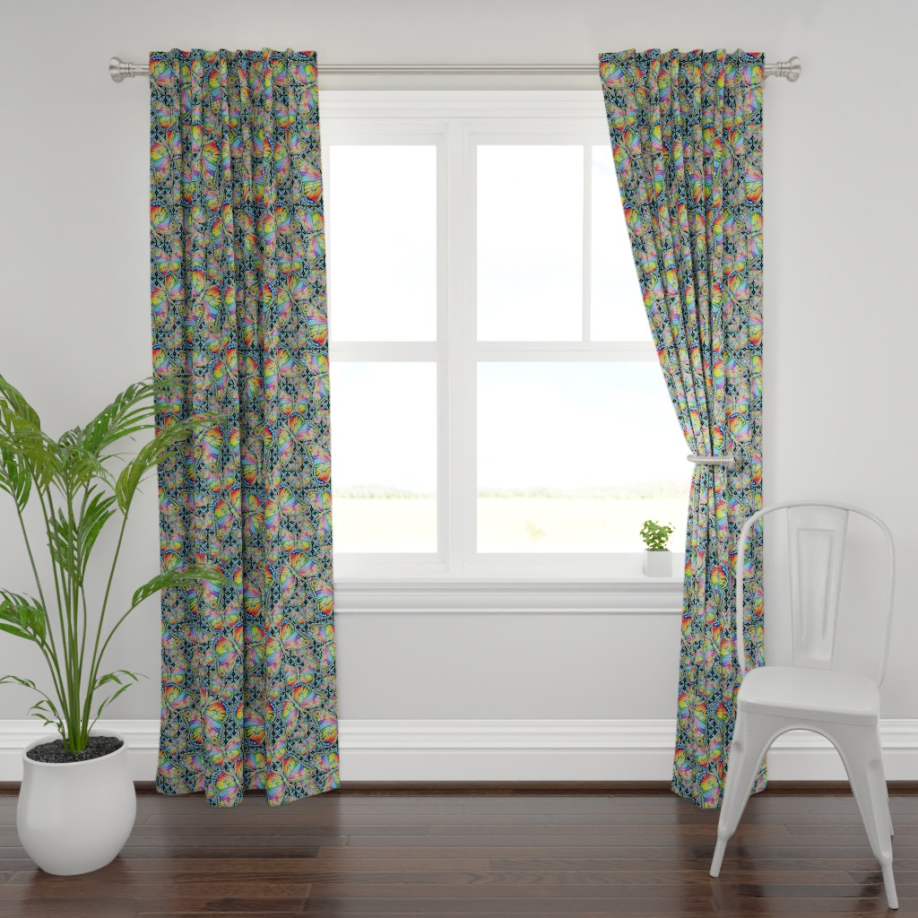 Plymouth Curtain Panel featuring Rainbow Butterflies by patriciasheadesigns