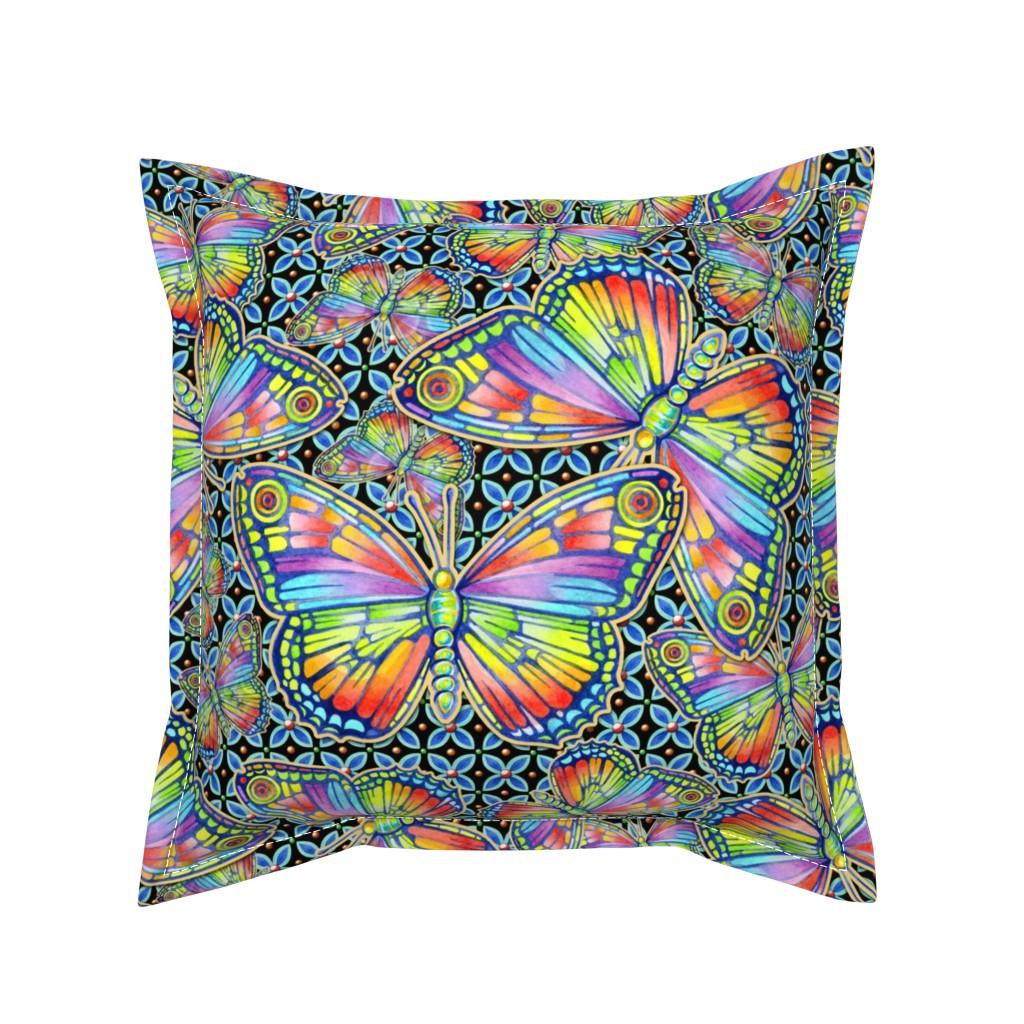 Serama Throw Pillow featuring Rainbow Butterflies by patriciasheadesigns