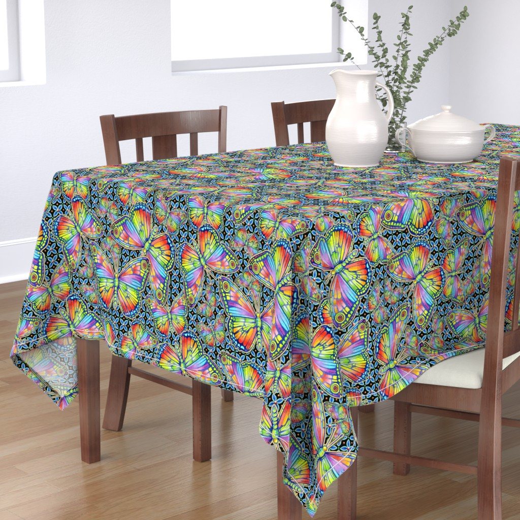 Bantam Rectangular Tablecloth featuring Rainbow Butterflies by patriciasheadesigns