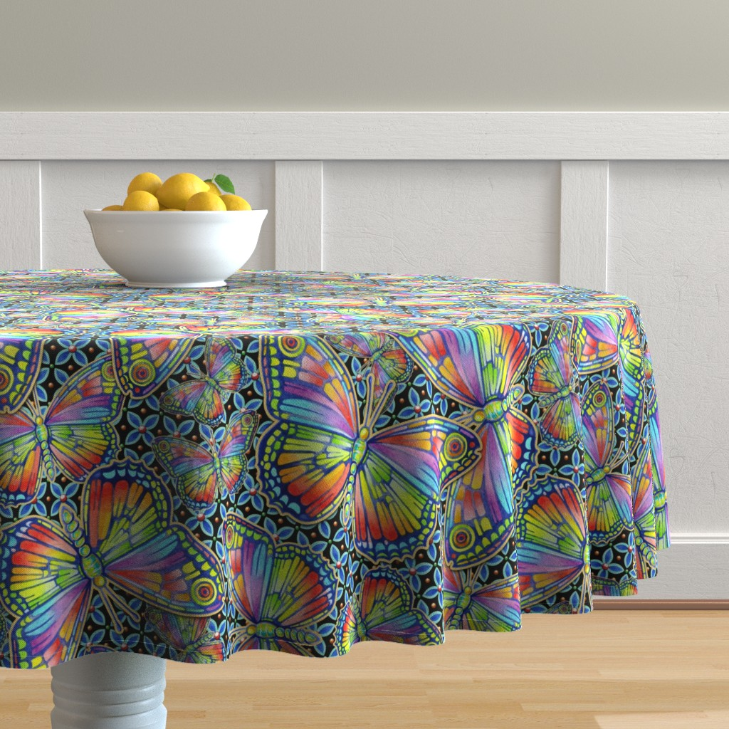 Malay Round Tablecloth featuring Rainbow Butterflies by patriciasheadesigns