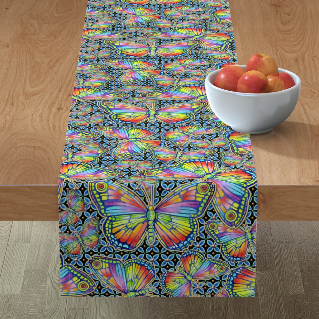 Minorca Table Runner featuring Rainbow Butterflies by patriciasheadesigns