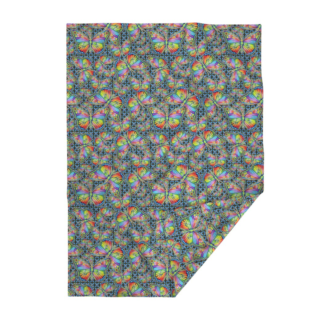 Lakenvelder Throw Blanket featuring Rainbow Butterflies by patriciasheadesigns