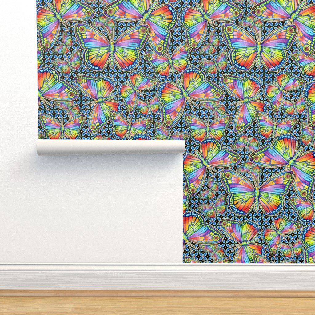 Isobar Durable Wallpaper featuring Rainbow Butterflies by patriciasheadesigns