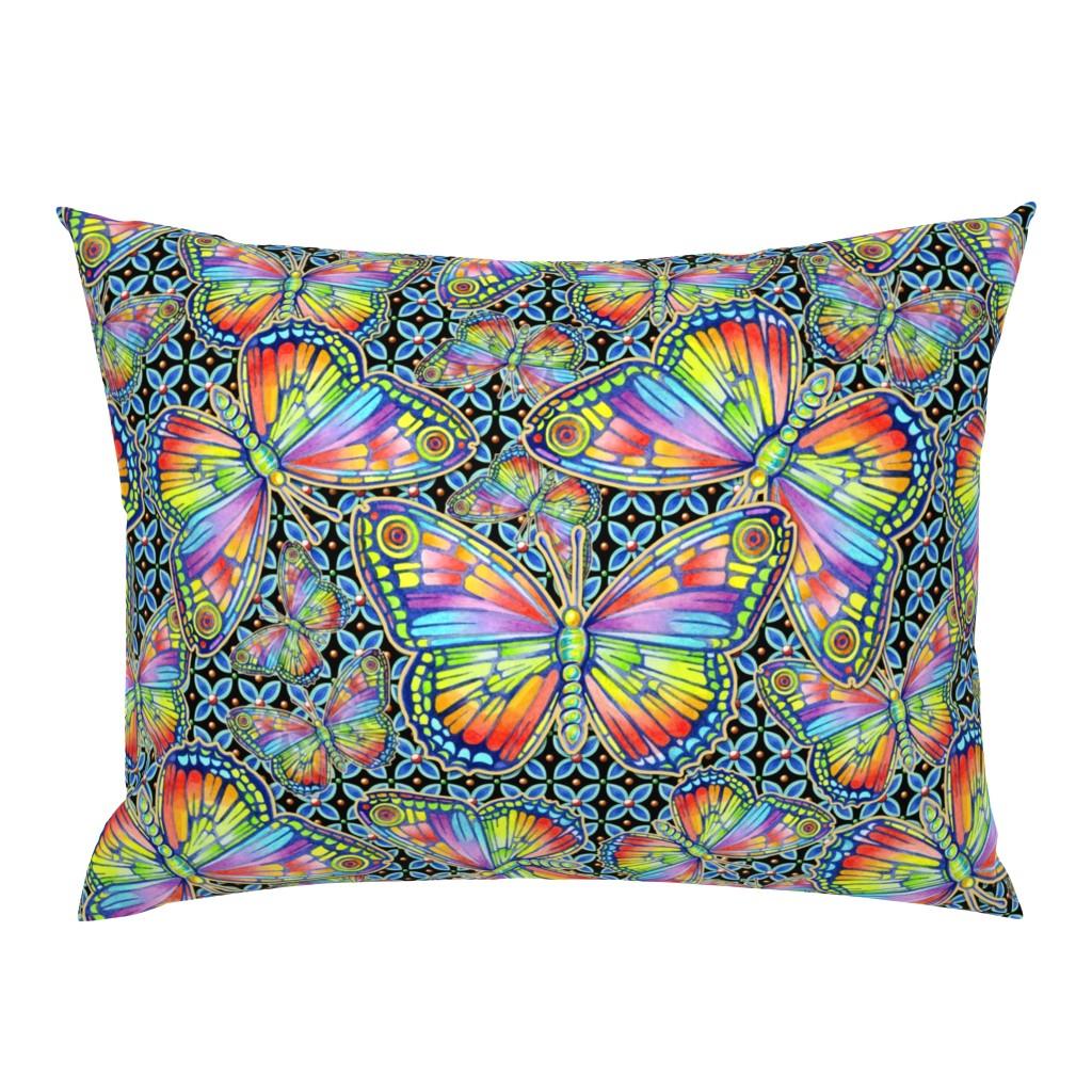 Campine Pillow Sham featuring Rainbow Butterflies by patriciasheadesigns