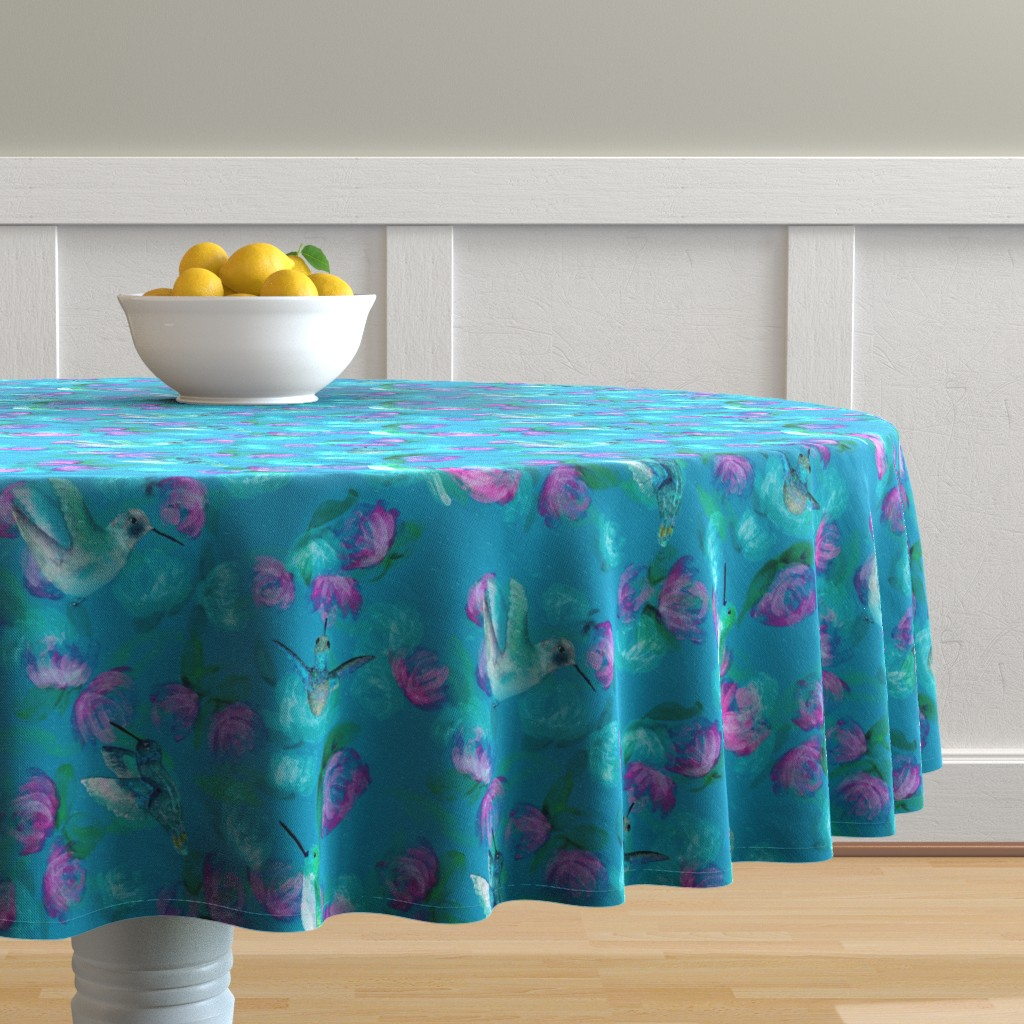 Malay Round Tablecloth featuring Monet inspired hummingbirds by stasiajahadi