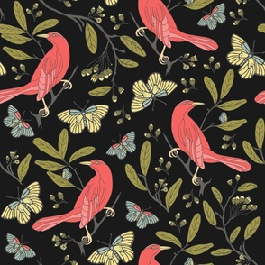 Bird and Butterfly - Black