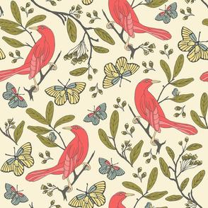 Bird & Butterflies - Pale Yellow