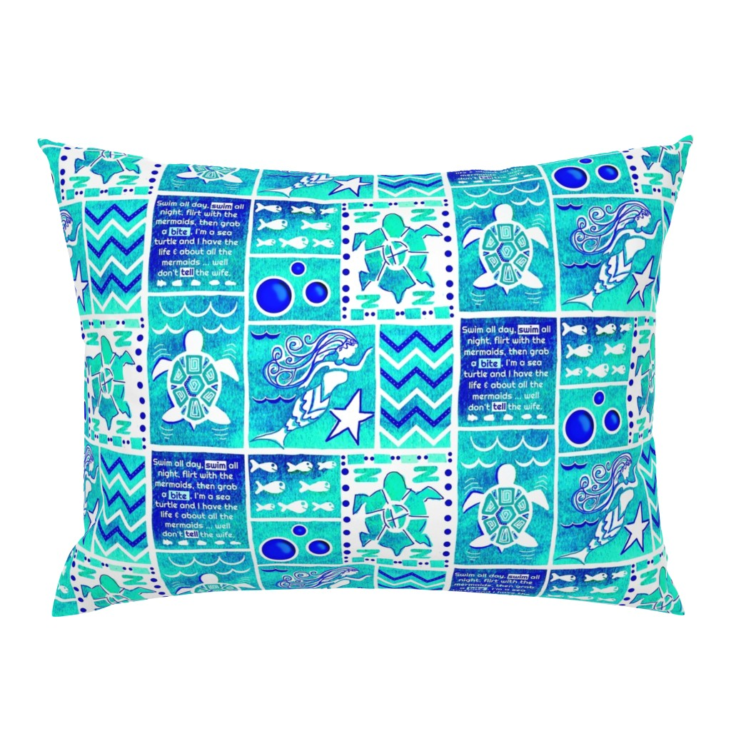 Campine Pillow Sham featuring Sea Turtle Day Dream-blue-green by franbail
