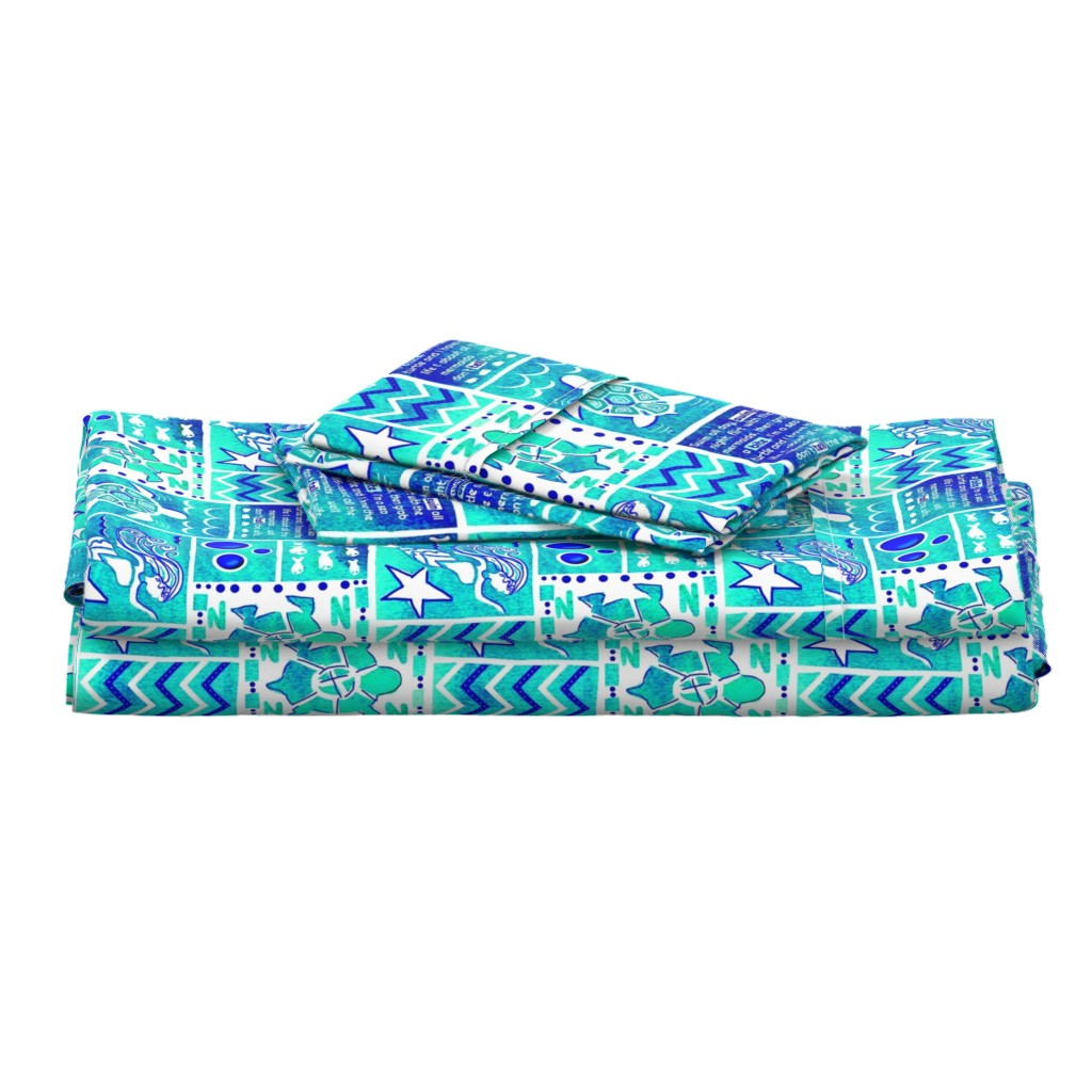 Langshan Full Bed Set featuring Sea Turtle Day Dream-blue-green by franbail