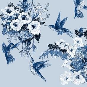 Humming Bird Delft Vibe Navy on Blue