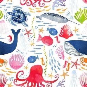 Watercolor sea life