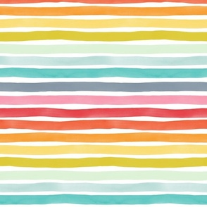 Watercolor Stripes M+M Rainbow by Friztin