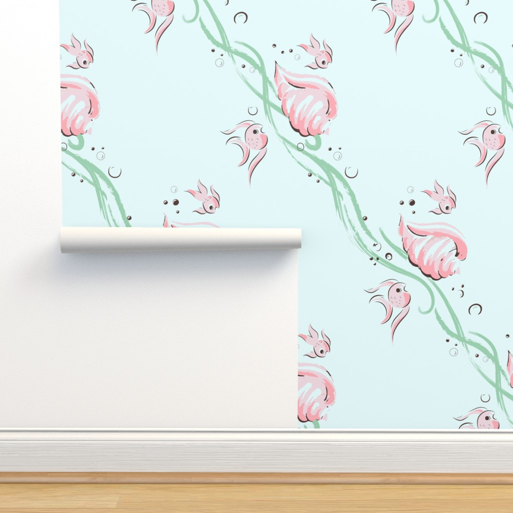 Isobar Durable Wallpaper featuring Kitschy fishies by tuppencehapenny