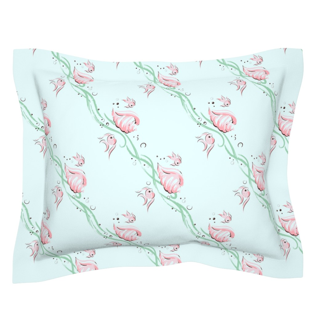 Sebright Pillow Sham featuring Kitschy fishies by tuppencehapenny