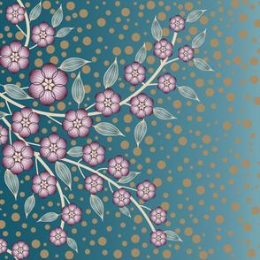 Large Floral Border, Plum, Teal