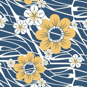 Hawaiian Floral in Blue and Yellow on White Waves