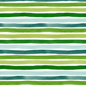 Watercolor Stripes M+M Greens by Friztin