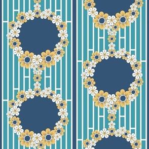 Blue and Yellow Flower Garland Cameo Borders