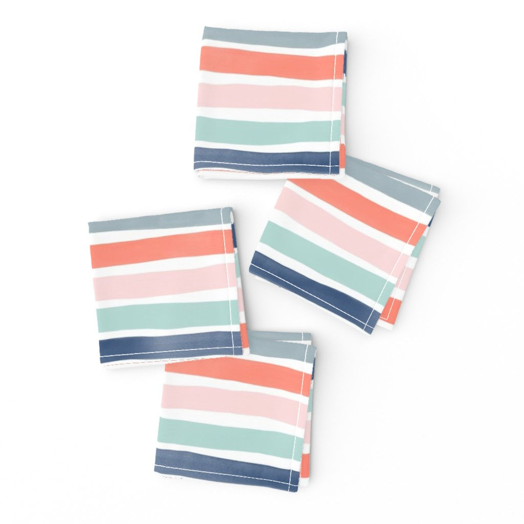 Frizzle Cocktail Napkins featuring Watercolor Stripes M+M Multi Coral Blues by Friztin by friztin