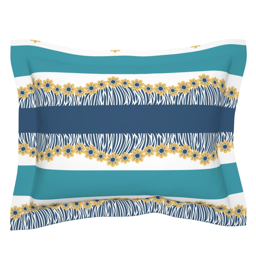 Sebright Pillow Sham featuring Hawaiian Floral Fringe Border Print of Flower Branches in Blue and Yellow by amborela