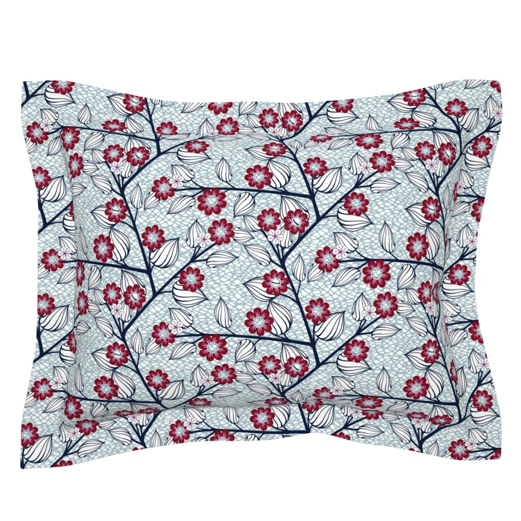 Sebright Pillow Sham featuring Navy and Red Flowers on Netting for Leggings by amborela