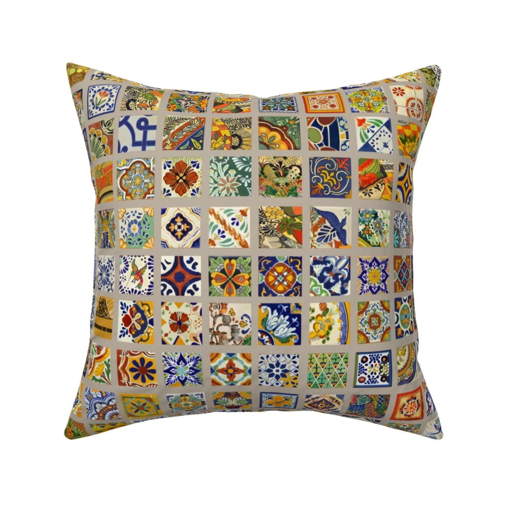 Catalan Throw Pillow featuring talavera-tiles-gray grout by wren_leyland