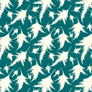 Tossed leaves-turquoise