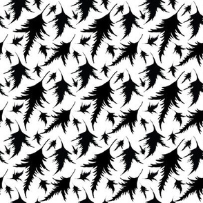 Tossed Leaves in black and white
