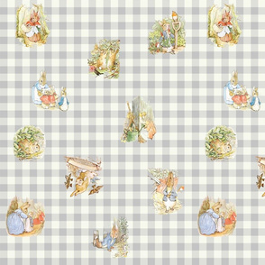 Gray Gingham Beatrix Potter Tossed Characters Large Scale
