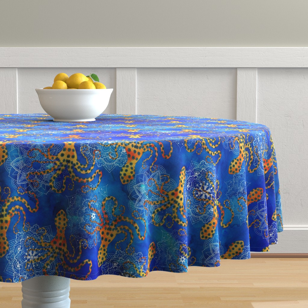 Malay Round Tablecloth featuring Watercolor Blue Ringed Octopus Mandala by wickedrefined