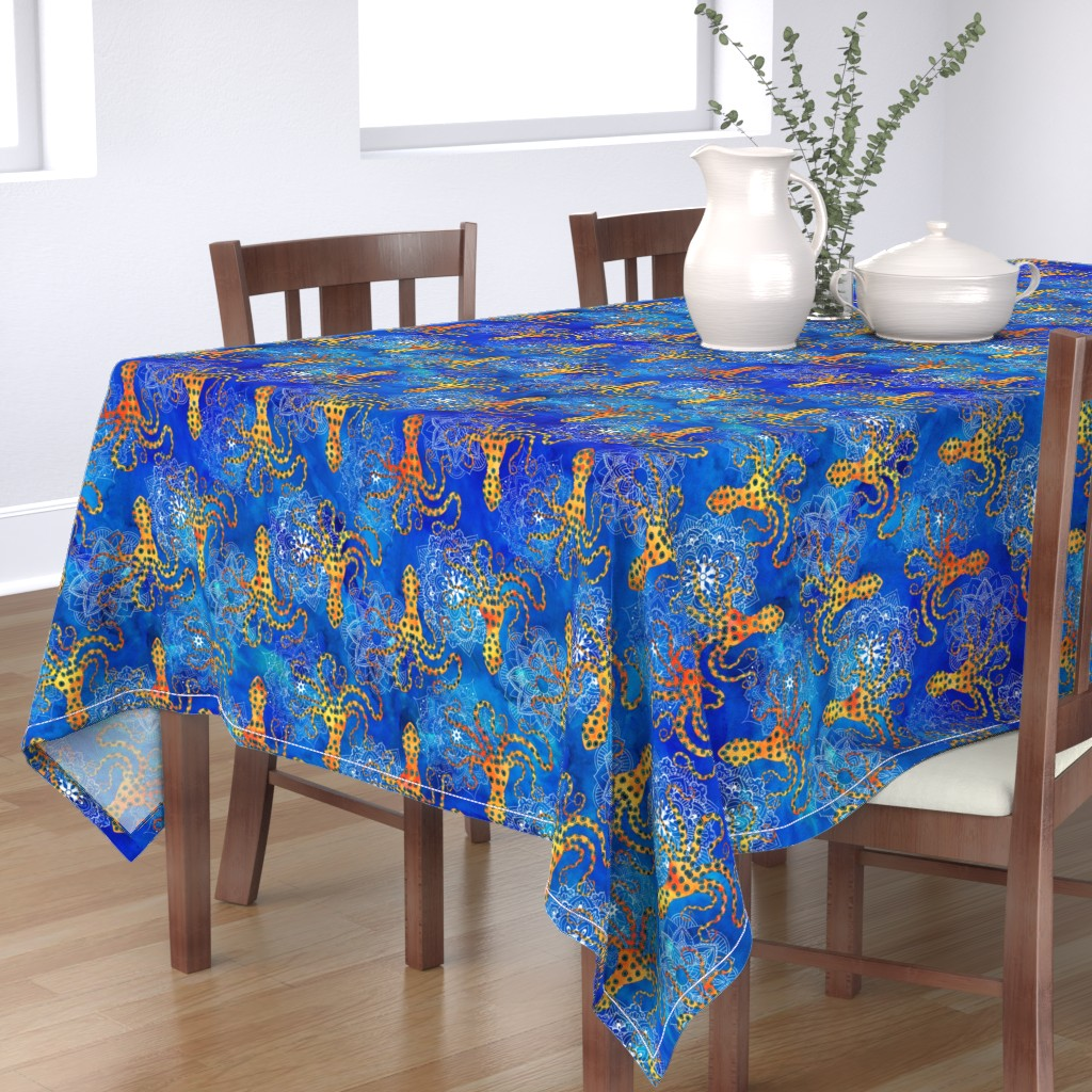 Bantam Rectangular Tablecloth featuring Watercolor Blue Ringed Octopus Mandala by wickedrefined