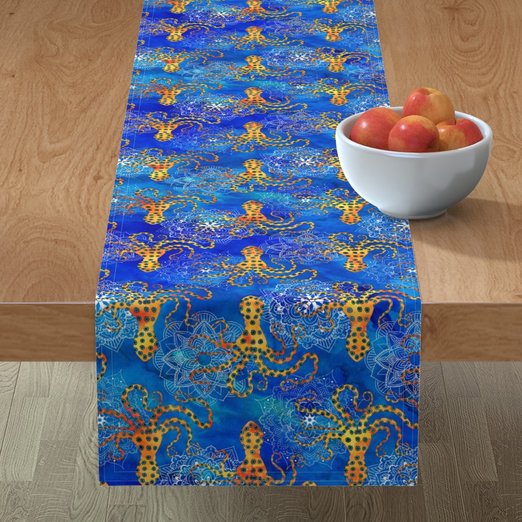 Minorca Table Runner featuring Watercolor Blue Ringed Octopus Mandala by wickedrefined