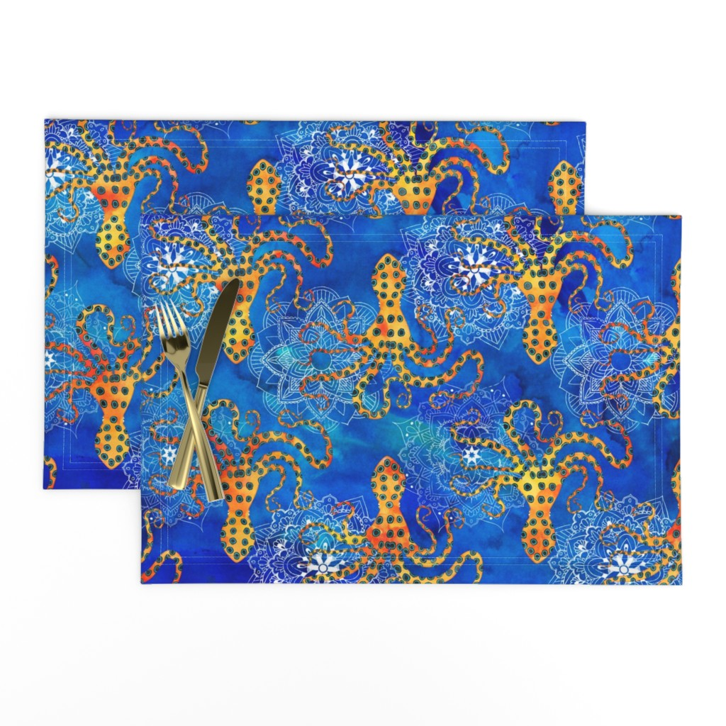 Lamona Cloth Placemats featuring Watercolor Blue Ringed Octopus Mandalas ~ Blue Orange by wickedrefined
