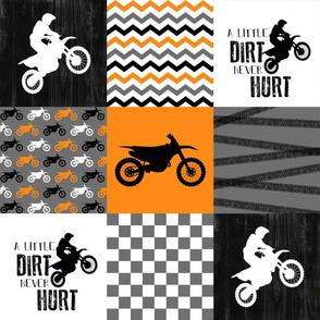 Motocross//A little dirt never hurt - Orange Wholecloth cheater quilt