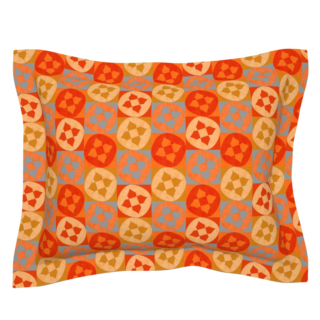 Sebright Pillow Sham featuring flowery abstract with bright red by variable