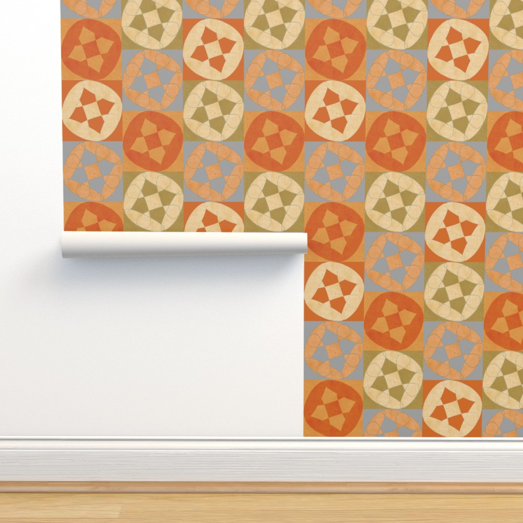 Isobar Durable Wallpaper featuring flowery abstract in earth tones by variable