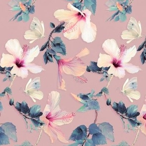 Butterflies and Hibiscus Flowers on vintage pink - small print