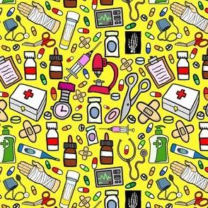 Nurse Stuff Pattern - Yellow Background