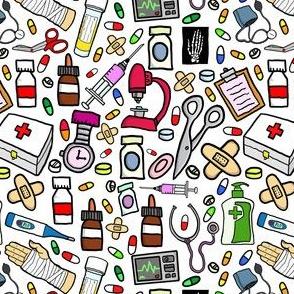 Nurse Stuff Pattern - White Background