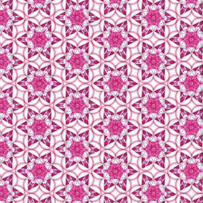 small snowflake hexagons in magenta