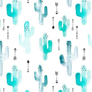 Watercolor cactus illustration indian summer theme with arrows in blue and aqua for boys