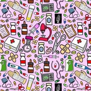 Nurse Stuff Pattern - Pink Background