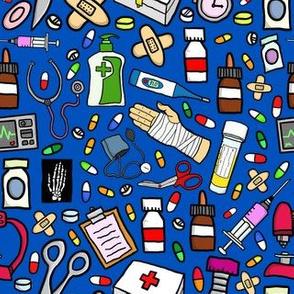 Nurse Stuff Pattern - Navy Background