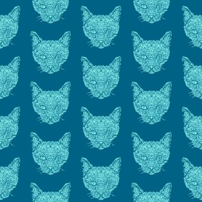 Blue Alley Cat Pattern