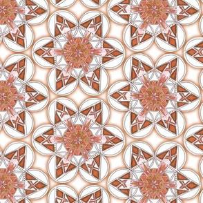 large snowflake hexagons in brown