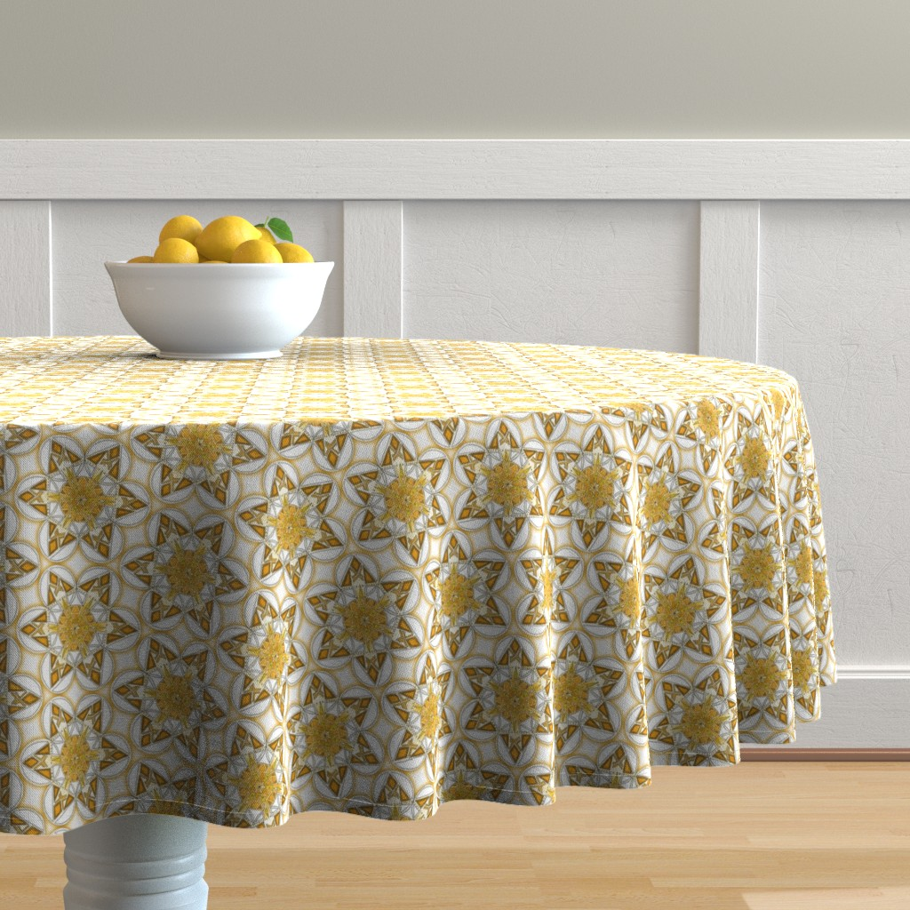 Malay Round Tablecloth featuring large snowflake hexagons in gold by weavingmajor