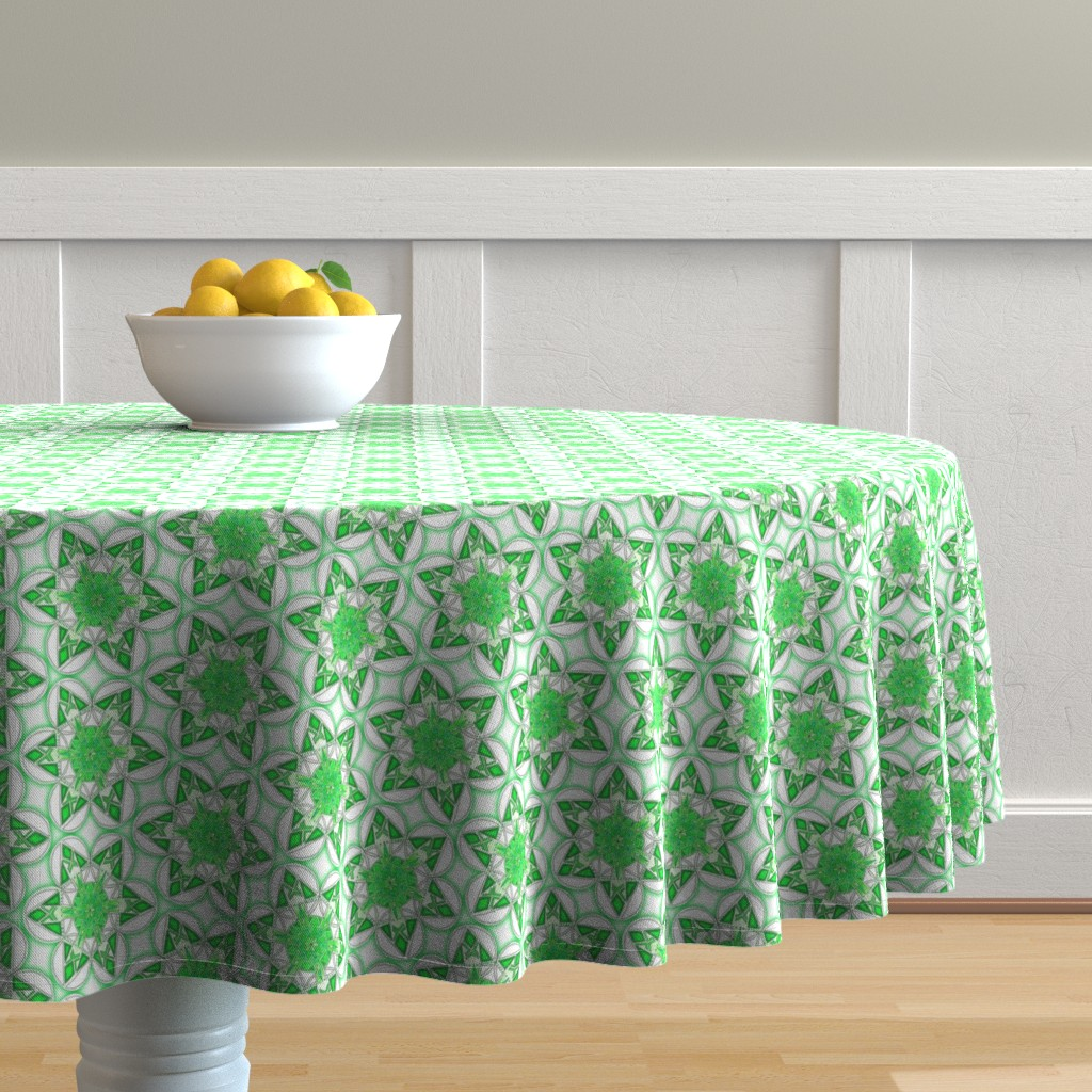 Malay Round Tablecloth featuring large snowflake hexagons in green by weavingmajor