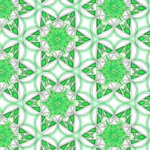 large snowflake hexagons in green